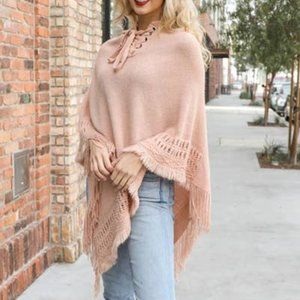 Hooded Lace Up Knit Poncho - Blush